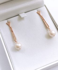 Rose Gold Pearl Earrings