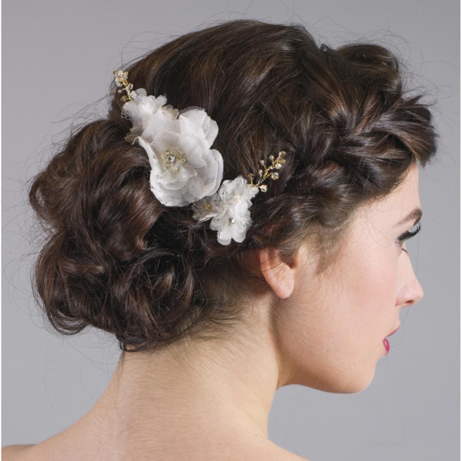 Forget Me Knot Bridal Lace Flower Hairpins - Laurel Lime Bridal