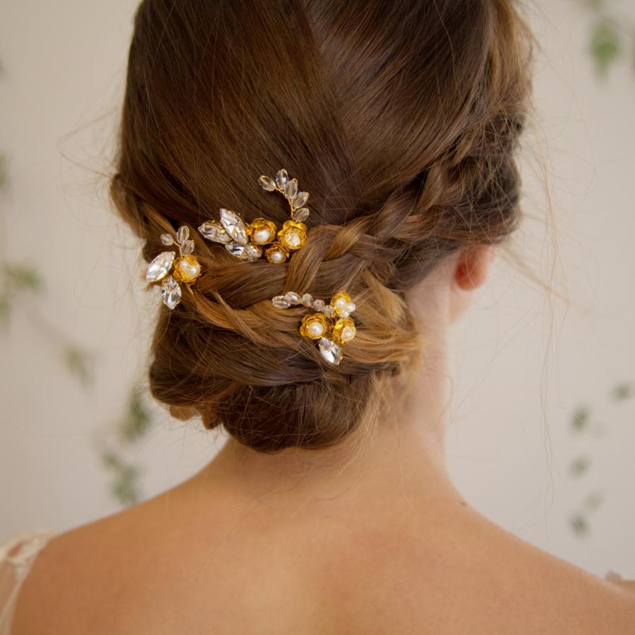 Harvest Moon Bridal Hairpins Laurel Lime Wedding Accessories
